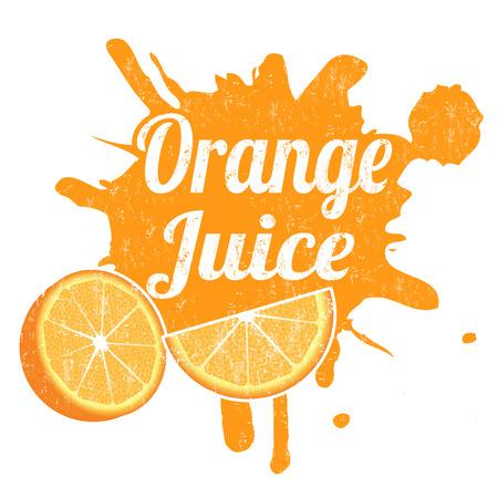 jugo de frutas: Jugo de naranja grunge sello de goma de salpicaduras, ilustración vectorial