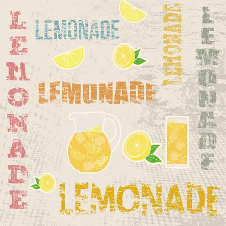 Lemonade typographic poster design on grunge scratched background, vector illustration Ilustracja