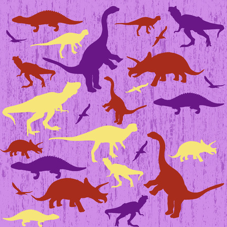 lila: Silhouettes of dinosaur on lila grunge background, vector illustration