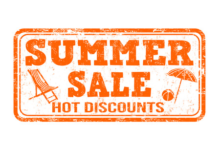 stamp: Summer sale grunge rubber stamp on white background, vector illustration