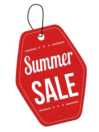 여름 판매 흰색 배경에 가죽 라벨 또는 가격 태그 빨간색, 벡터 일러스트 레이 션 일러스트