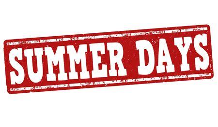 august: Summer days grunge rubber stamp on white background, vector illustration