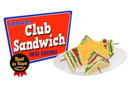 白い背景に、ベクター グラフィックのクラブ サンドイッチ アイコン
