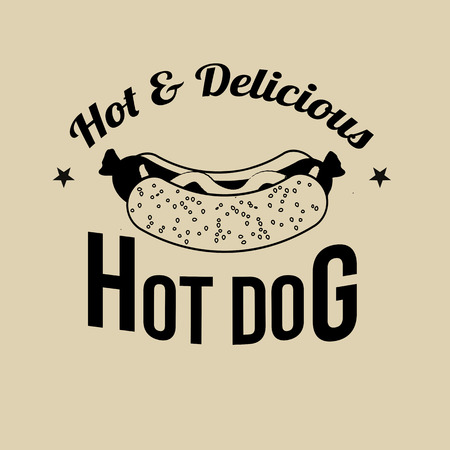 hot dog label: Hot Dog icon, label or stamp on retro style background, vector illustration Illustration