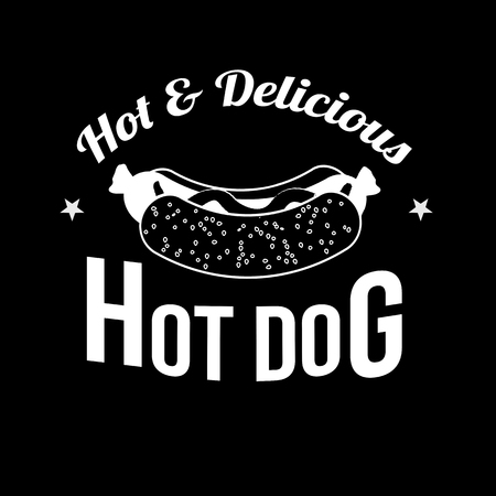 hot dog label: Hot Dog icon, label or stamp on black background, vector illustration