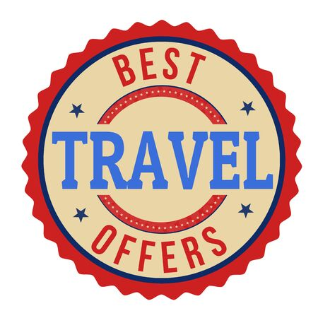 best travel destinations: Best travel offers label or stamp on white background, vector illustration Illustration