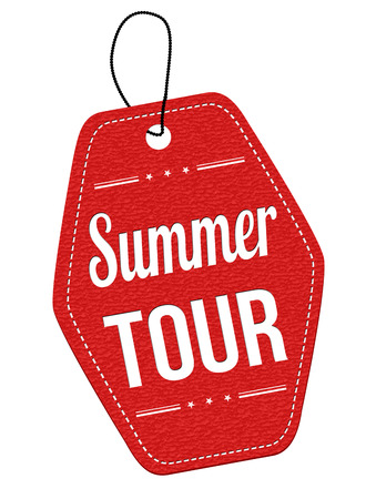 leather label: Summer tour red leather label or price tag on white background, vector illustration