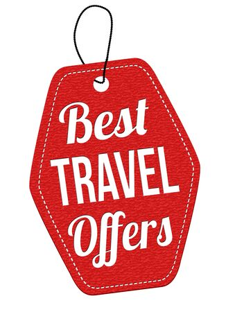 leather label: Best travel offers red leather label or price tag on white background, vector illustration