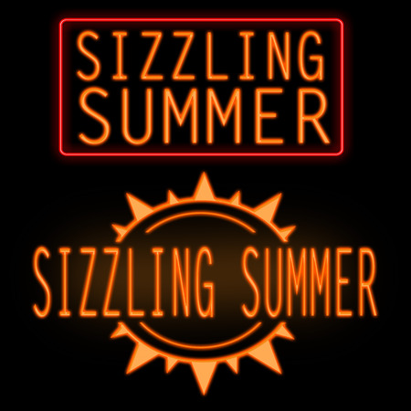 sizzling: Sizzling summer glowing neon sign on black background