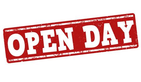 白い背景に、ベクトル図でのオープン日グランジ スタンプ
