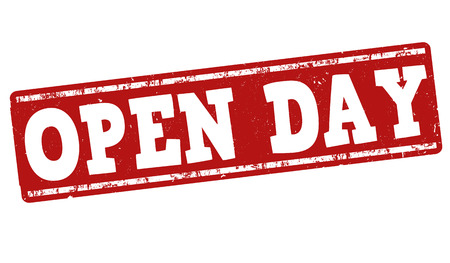 Open Day grunge rubber stamp on white background, vector illustration
