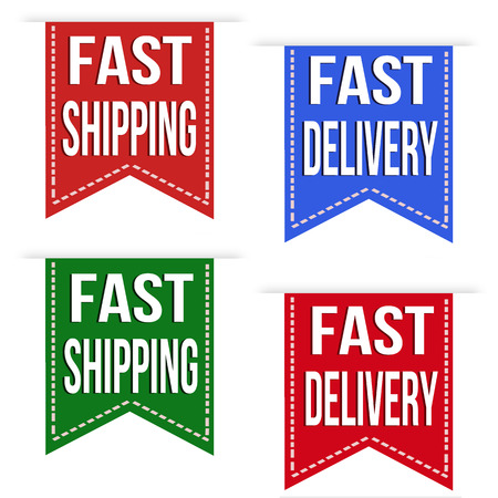 fast delivery: Fast shipping and fast delivery ribbons set on white, vector illustration