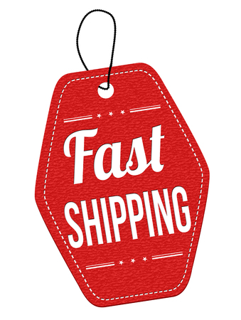 shipping: Fast shipping red leather label or price tag on white background, vector illustration