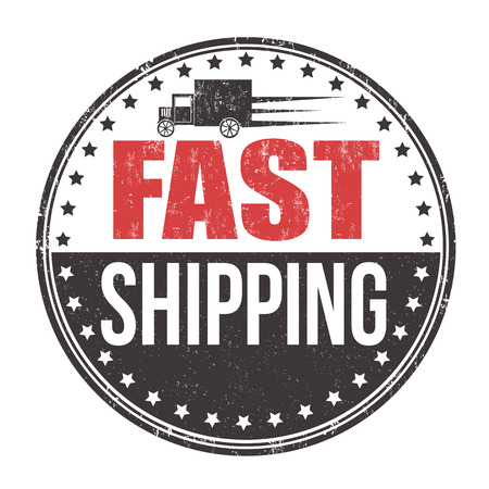 shipping: Fast shipping grunge rubber stamp on white background, vector illustration