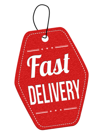 fast delivery: Fast delivery red leather label or price tag on white background, vector illustration