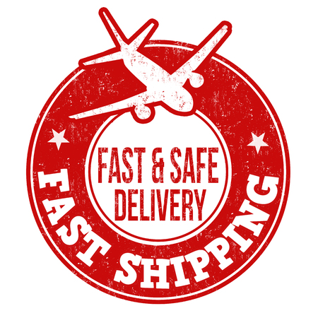 fast shipping: Fast shipping grunge rubber stamp on white background, vector illustration