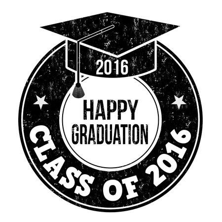 graduate student: Class of 2016 grunge rubber stamp on white