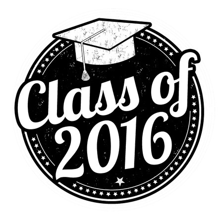 a sign: Class of 2016 grunge rubber stamp on white