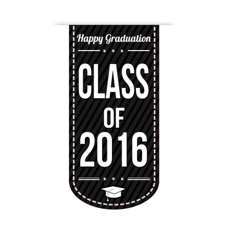 congratulations card: Class of 2016 banner design over a white background