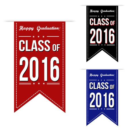colegios: Clase de 2016 dise�o de la bandera que se distribuyen en un fondo blanco