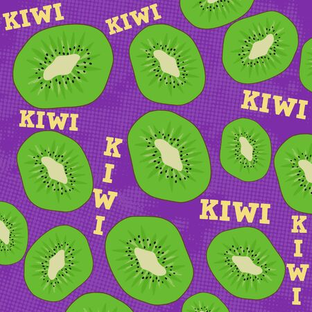 lila: Kiwi slice on lila grunge background