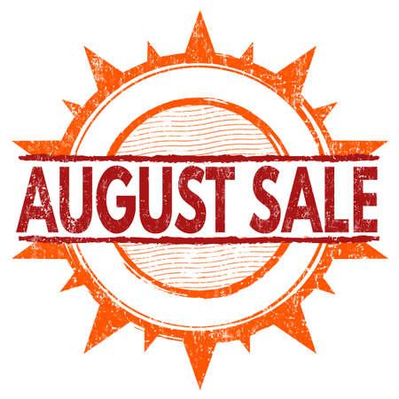 august: August sale grunge rubber stamp on white Illustration