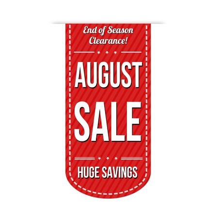 closing: August sale banner design over a white background
