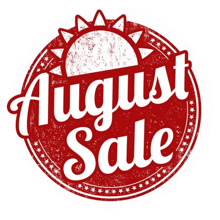 august: August sale grunge rubber stamp on white Illustration