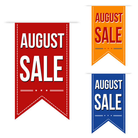 closed ribbon: August sale banners design over a white background Illustration