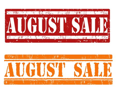 advertised: August sale grunge rubber stamps on white