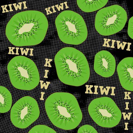 black grunge background: Kiwi slice on black grunge background