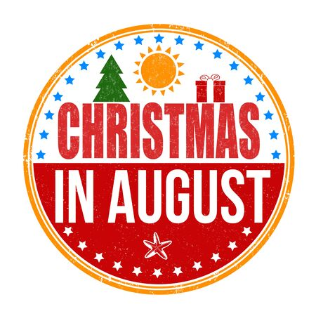 advertised: Christmas in august grunge rubber stamp on white, vector illustration