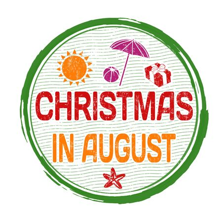 advertised: Christmas in august grunge rubber stamp on white