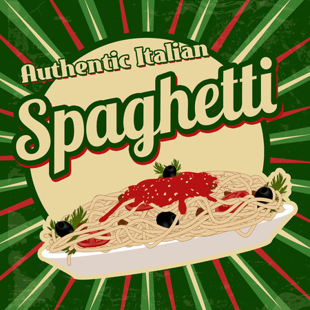 spaghetti bolognese: Spaghetti with sauce poster in vintage style Illustration