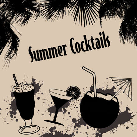 style background: Summer cocktails on retro style background