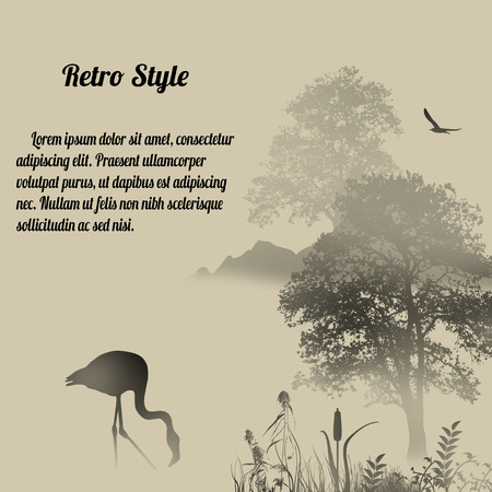 black silhouette: Flamingo silhouette on lake at foggy place on retro style background Illustration