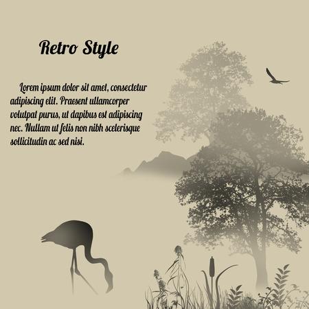 foggy: Flamingo silhouette on lake at foggy place on retro style background Illustration