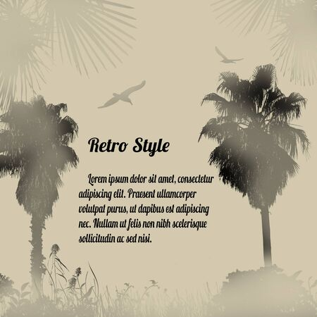 style background: Tropical foggy place on retro style background