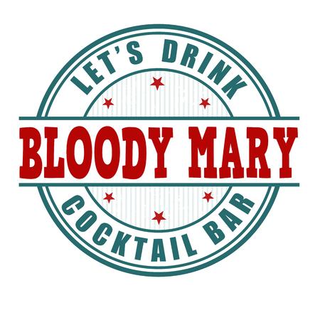 De cocktail grunge rubberzegel van de bloedige Mary op witte achtergrond Stock Illustratie