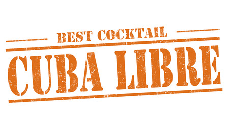 alcohols: Cuba Libre cocktail grunge rubber stamp on white background Illustration