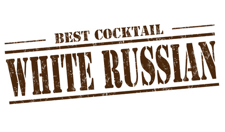 white  russian: White Russian cocktail grunge rubber stamp on white background