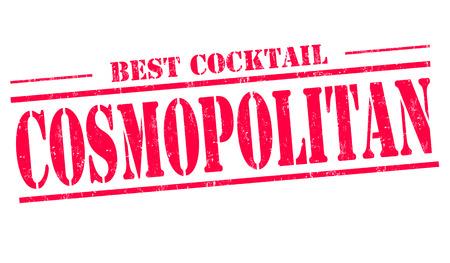 cosmopolitan: Cosmopolitan cocktail grunge rubber stamp on white background