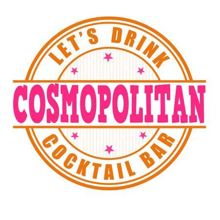 cosmopolitan: Cosmopolitan cocktail grunge rubber stamp on white background