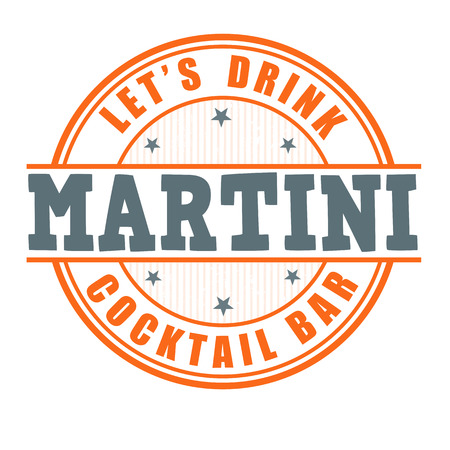 Martini cocktail grunge rubber stamp on white background