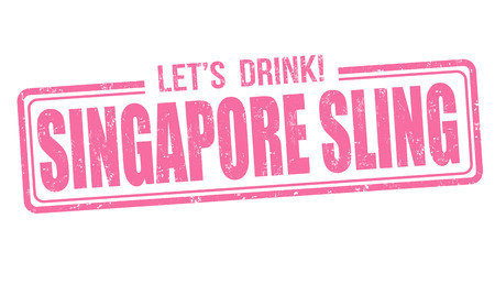 Singapore sling cocktail grunge rubber stamp on white background Illustration