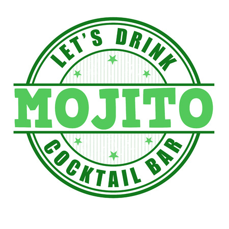 Mojito cocktail grunge rubber stamp on white background