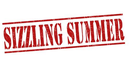 sizzling: Sizzling summer grunge rubber stamp on white background, vector illustration Illustration