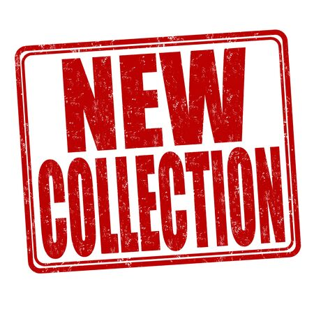 stamp collection: New Collection grunge rubber stamp on white background, vector illustration