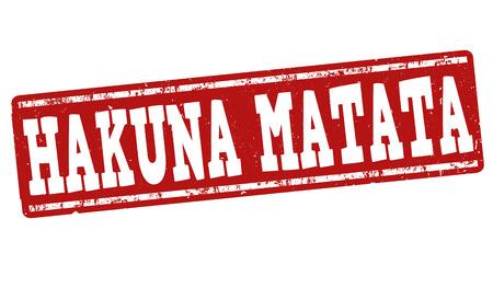 indios americanos: Hakuna Matata grunge sello de goma en el fondo blanco, ilustración vectorial Vectores