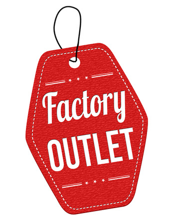 outlet: Factory outlet red leather label or price tag on white background, vector illustration